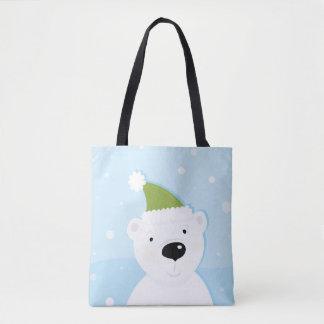 Hand drawn cute teddy bear : Blue Tote Bag
