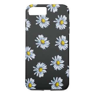 Hand Drawn Daisy Flowers on Black Background iPhone 7 Plus Case