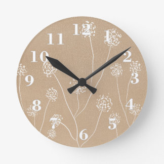 Hand drawn Dandelions flowers beige kraft Round Clock