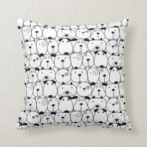 Hand Drawn Dogs Pattern Cushion