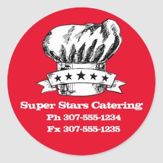 Hand drawn doodle chef hat 5 stars catering round sticker