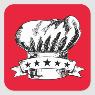 Hand drawn doodle chef hat 5 stars catering square sticker