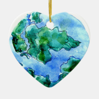 Hand Drawn Earth 2 Ceramic Heart Decoration