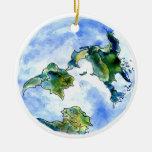 Hand Drawn Earth Round Ceramic Decoration