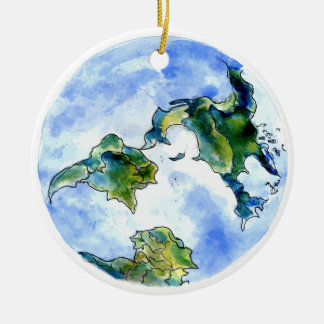 Hand Drawn Earth Round Ceramic Decoration