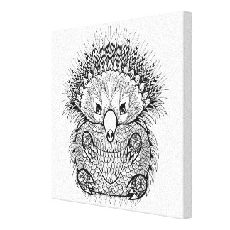 Hand Drawn Echidna Doodle 6 Canvas Print