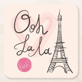 Hand Drawn Eiffel Tower Square Paper Coaster