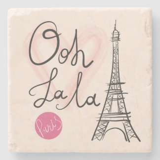 Hand Drawn Eiffel Tower Stone Coaster