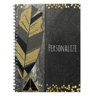Hand Drawn Feather & Tepee Gold Black Boho Glam Notebook