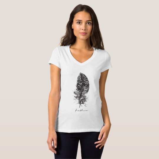 Hand-drawn feather women's t-shirt