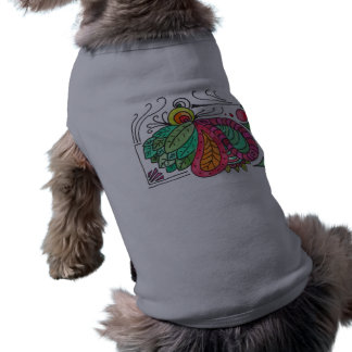 Hand Drawn Floral Arabesque - red and green Sleeveless Dog Shirt