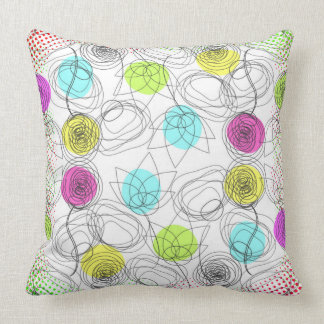 Hand drawn floral design with grunge halftones throw pillow