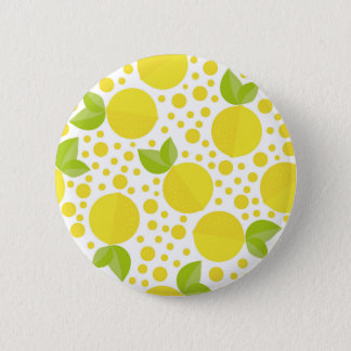 Hand drawn floral elements & lemons 6 cm round badge