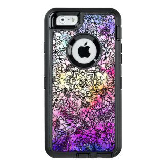 Hand drawn floral mandala pink nebula watercolor OtterBox defender iPhone case
