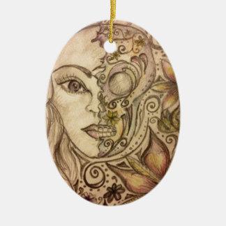 Hand drawn floral skull art ceramic oval decoration