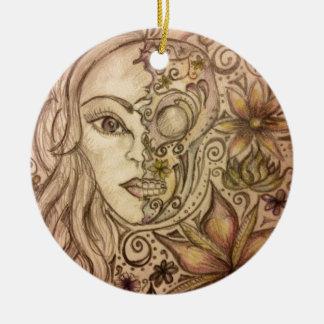 Hand drawn floral skull art round ceramic decoration