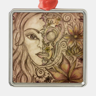 Hand drawn floral skull art Silver-Colored square decoration