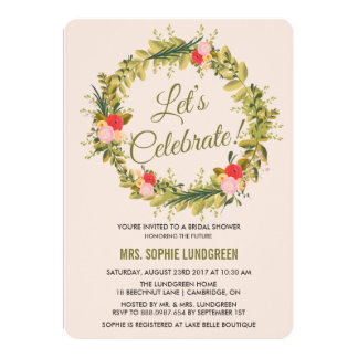 Hand Drawn Floral Wreath Bridal Shower Invitation