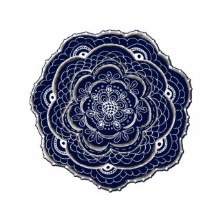 Hand Drawn Flower Doily Design Photo Sculpture Magnet