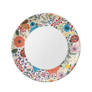 Hand drawn Flowers and Lady Bugs Plate