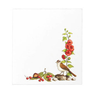 Hand Drawn Flowers, Bird, Berries: Nature Border Notepad