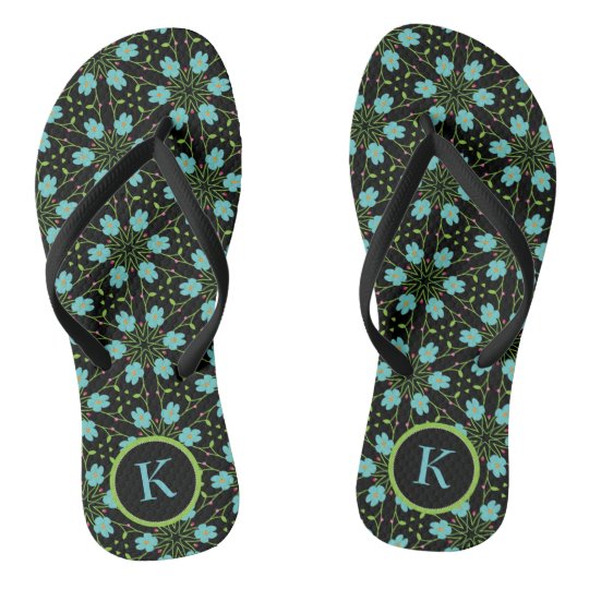 Hand Drawn Flowers Kaleidoscope Pattern Monogram Flip Flops