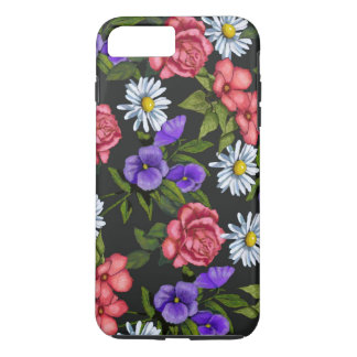 Hand Drawn Flowers on Black Background iPhone 7 Plus Case