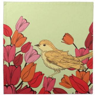 Hand Drawn Flowery Bird Background Cloth Napkins