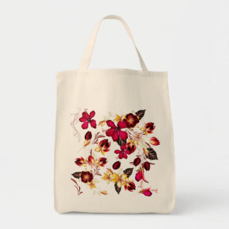Hand drawn folk Bag : with Flowers