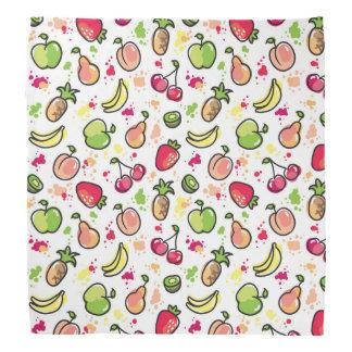 hand drawn fruits pattern bandana