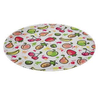 hand drawn fruits pattern cutting board
