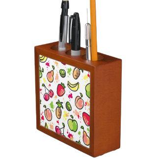 hand drawn fruits pattern desk organiser