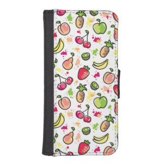 hand drawn fruits pattern iPhone SE/5/5s wallet case