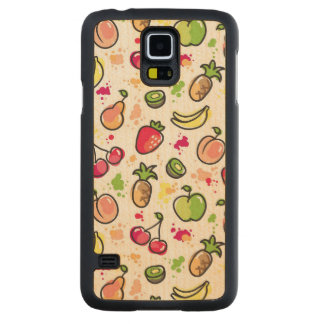 hand drawn fruits pattern maple galaxy s5 case