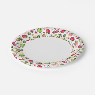 hand drawn fruits pattern paper plate