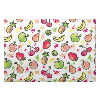 hand drawn fruits pattern placemat