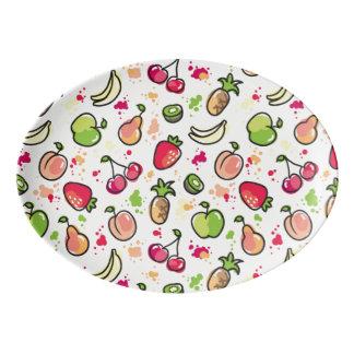 hand drawn fruits pattern porcelain serving platter