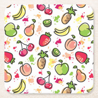 hand drawn fruits pattern square paper coaster