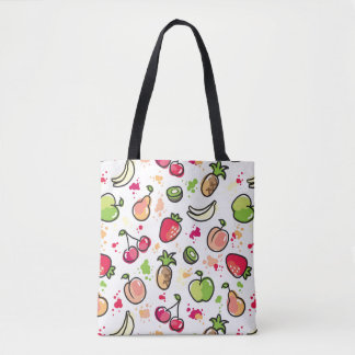 hand drawn fruits pattern tote bag