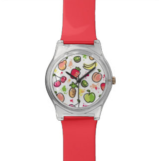 hand drawn fruits pattern watch