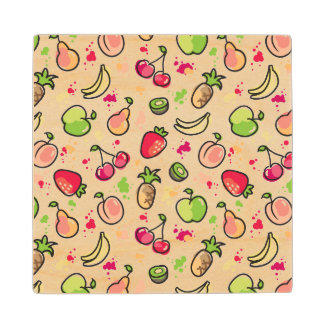 hand drawn fruits pattern wood coaster