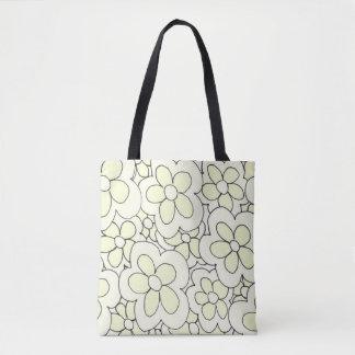 Hand drawn fun flower print yellow white tote bag
