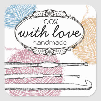 Hand drawn fuzzy yarn crochet hooks gift tag label square sticker