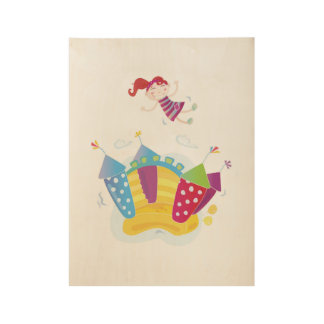 Hand drawn Girl jumping in Castle Wood Poster