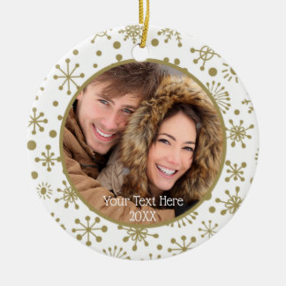 Hand-Drawn Gold Snowflakes, Two Photo, Two Sided Christmas Ornament