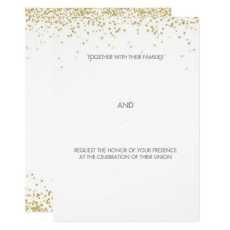 Hand drawn Gold Whimsical Wedding Card