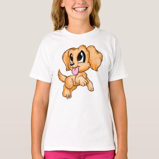 Hand Drawn Golden Retriever Girls T-shirt for Kids