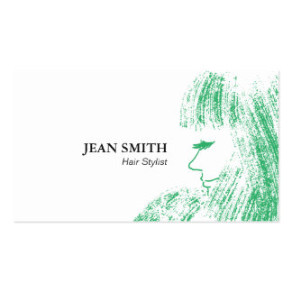 Hand Drawn Green Girl Hair Stylist Business Cards