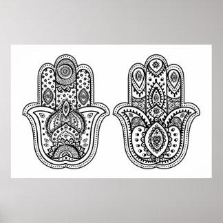 Hand Drawn Hamsa With Ornaments 2 Poster