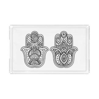 Hand Drawn Hamsa With Ornaments Acrylic Tray